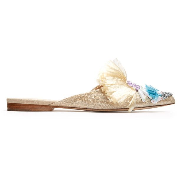 Delpozo Point-toe embellished raffia backless flats ($635) ❤ liked on Polyvore featuring shoes, flats, tassel flats, flat pointy shoes, pointed toe shoes, pointy shoes and embellished flats