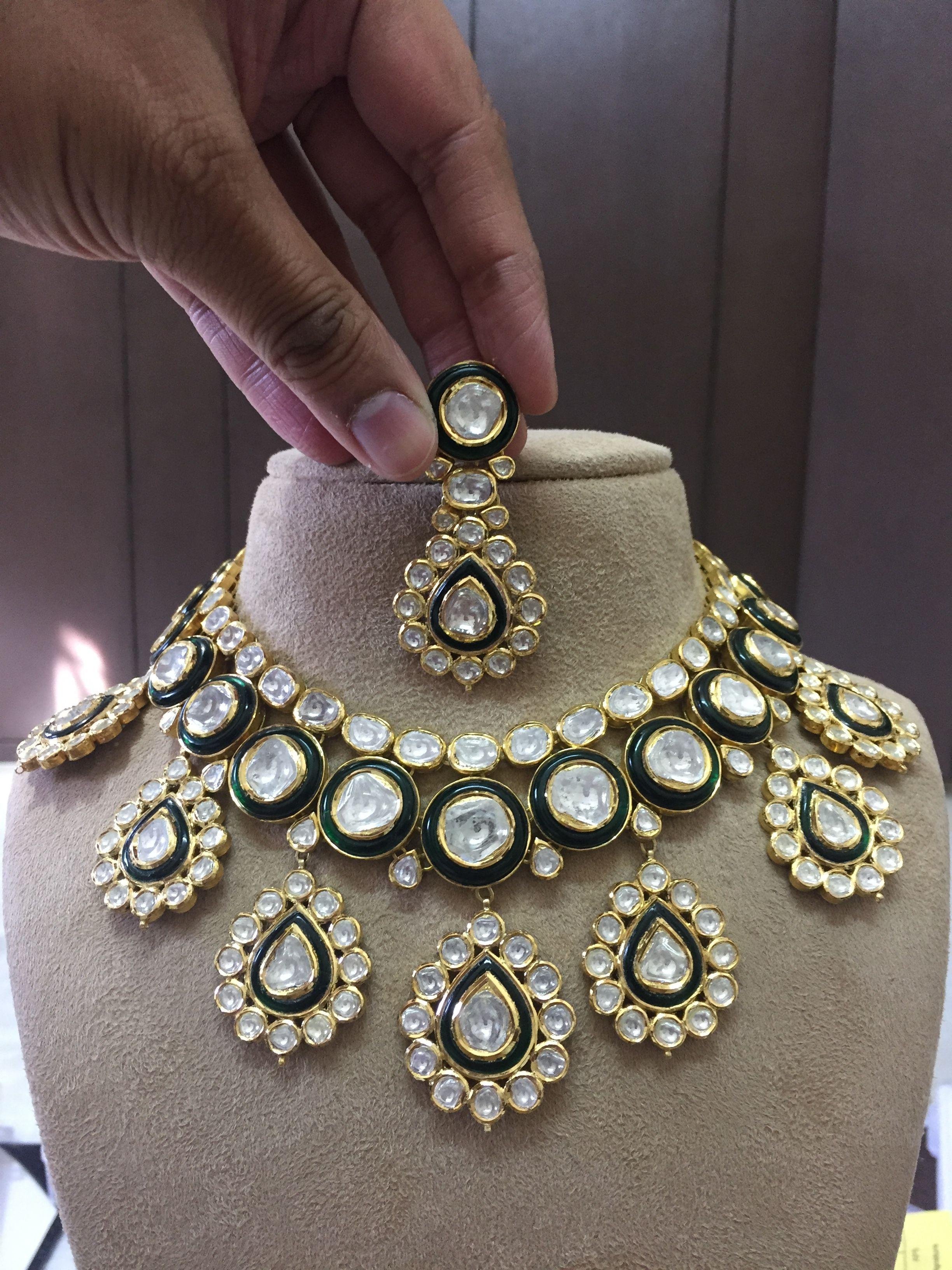 7cbaed6304a62 Necklace Polki set Kundan Meena Jadau Jewellery Indian Polki ...