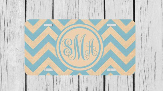 Personalized Monogrammed Chevron Light Blue by TopCraftCase