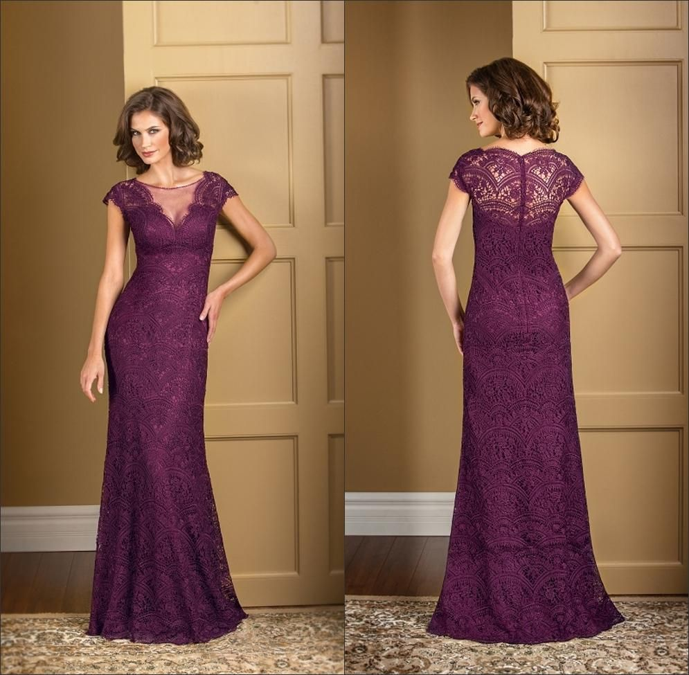 Plus Size Plum Lace Mermaid Mother of the Bride Dresses Long ...