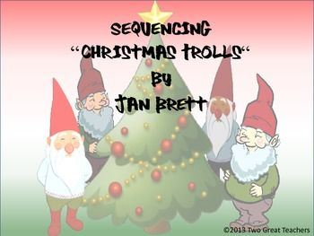 "Use this product to sequence the story, ""Christmas Trolls"" by Jan Brett. There are two versions of this product included. One has definite shapes that can easily be matched by younger children. The other has same shape requiting students to read or correctly identify pictures to put the story in order. You know your students best, so you have several choices. Print, copy and use. I like to run it on 11x17 paper or large construction paper."