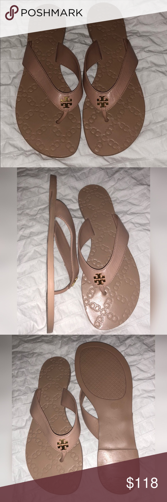 ab9c5e6a5f7 Tory Burch Monroe Flip Flop - Light Makeup Color Double T Logo - Leather  Strap - Rubber Soles - Color is Light Makeup Tory Burch Shoes Sandals