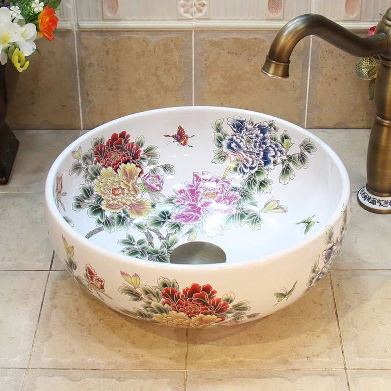 35cm White Peony Flower Basin Handmade Lavabo Washbasin Artistic Bathroom Sink Countertop Ceramic Bowl Sinks In 2021 Counter Top Sink Bathroom Bowl Sink Sink Countertop New top ceramic bathroom size