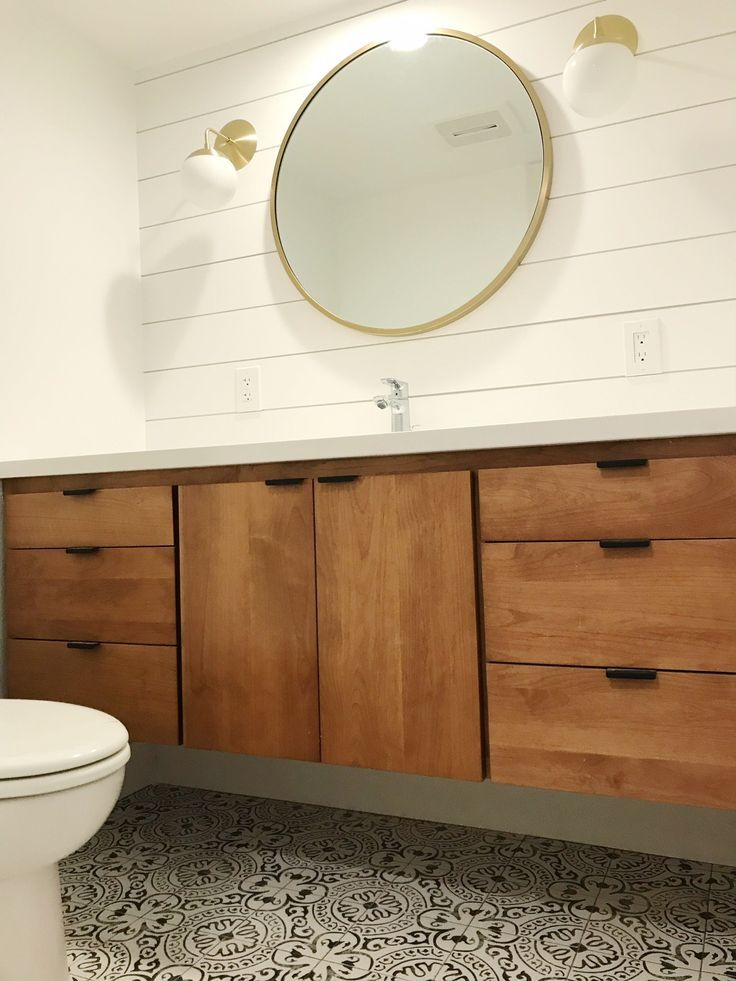 Powder Room Bathroom Idea Floating Vanity Wood West Elm Mirror Shiplap Modern Minimal Cement Tile