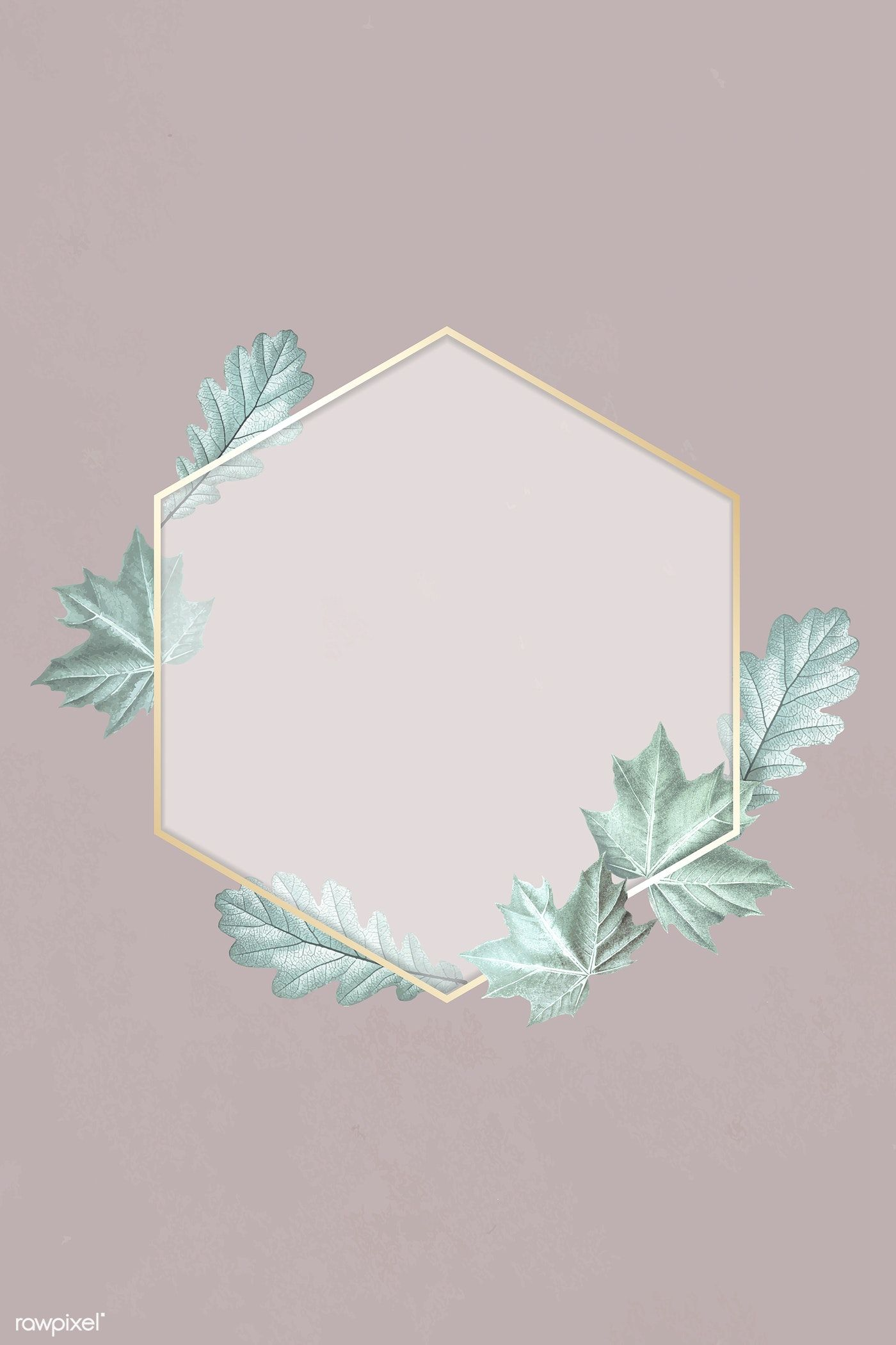 Download premium vector of Green leafy hexagon gold frame