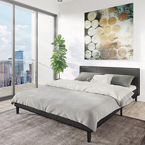 Manhattan Queen Bed Frame Modern Style Low Profile Headboard Platform Bedframe Upholstered Bedroom Mattress Furniture Soft Wood Footboards