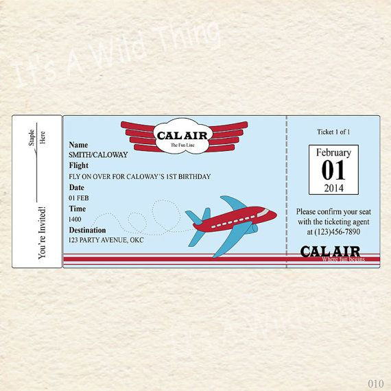 Printable Airplane Ticket Invitations by ItsAWildThing on Etsy - airplane ticket invitations