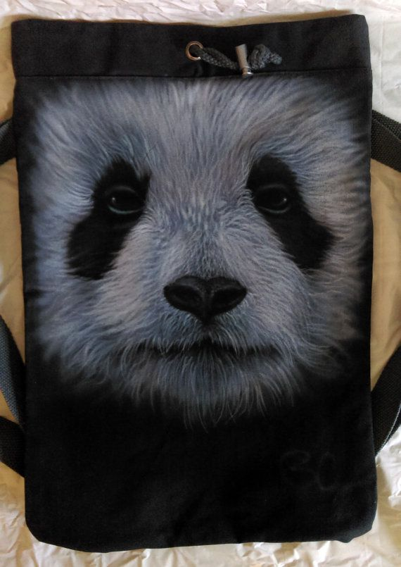 Canvas rucksack Hand-painted Bag Unique Bag Canvas Drawstring Backpack