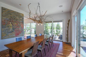 The Dining Room Has View To Pool And Koi Pond Michael Tavel Photographer Branch ChandelierChandeliersContemporary