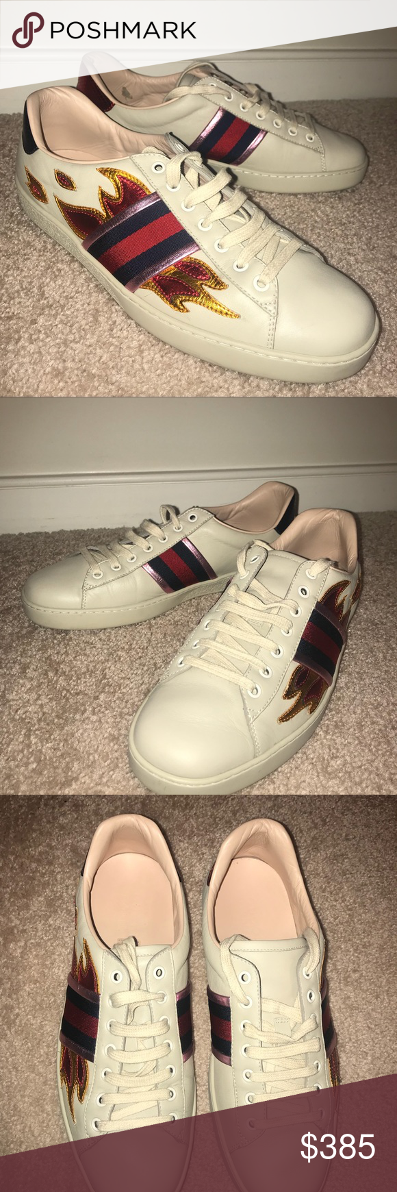 5c824ba395e82 Men s Creme Gucci Ace Embroidered Flame sneaker Another addition to the  stylish mans closet! Size