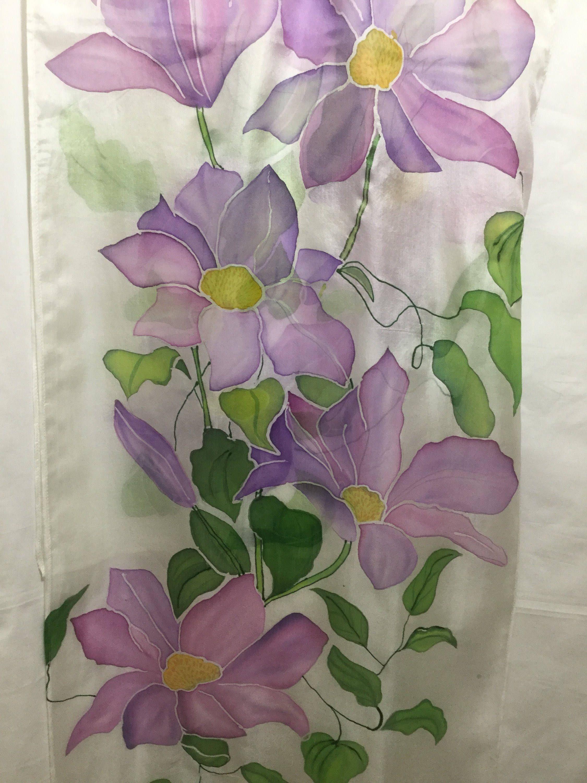 Silk Scarfviolet Flowershand Painted Flowerssilk Chifon By