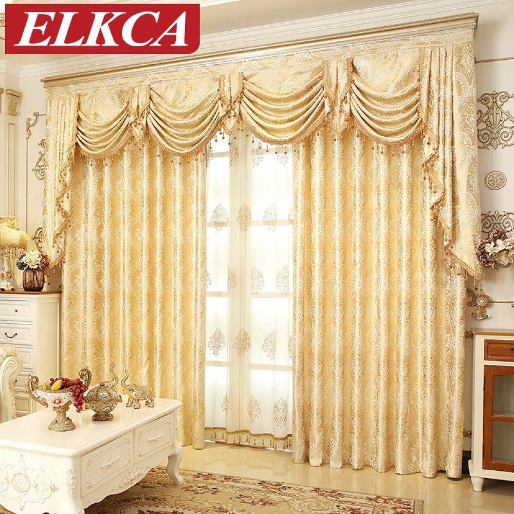 European Golden Royal Luxury Curtains For Bedroom Window Curtains For Living Room Elegant Luxury Curtains Blinds And Curtains Living Room Curtains Living Room