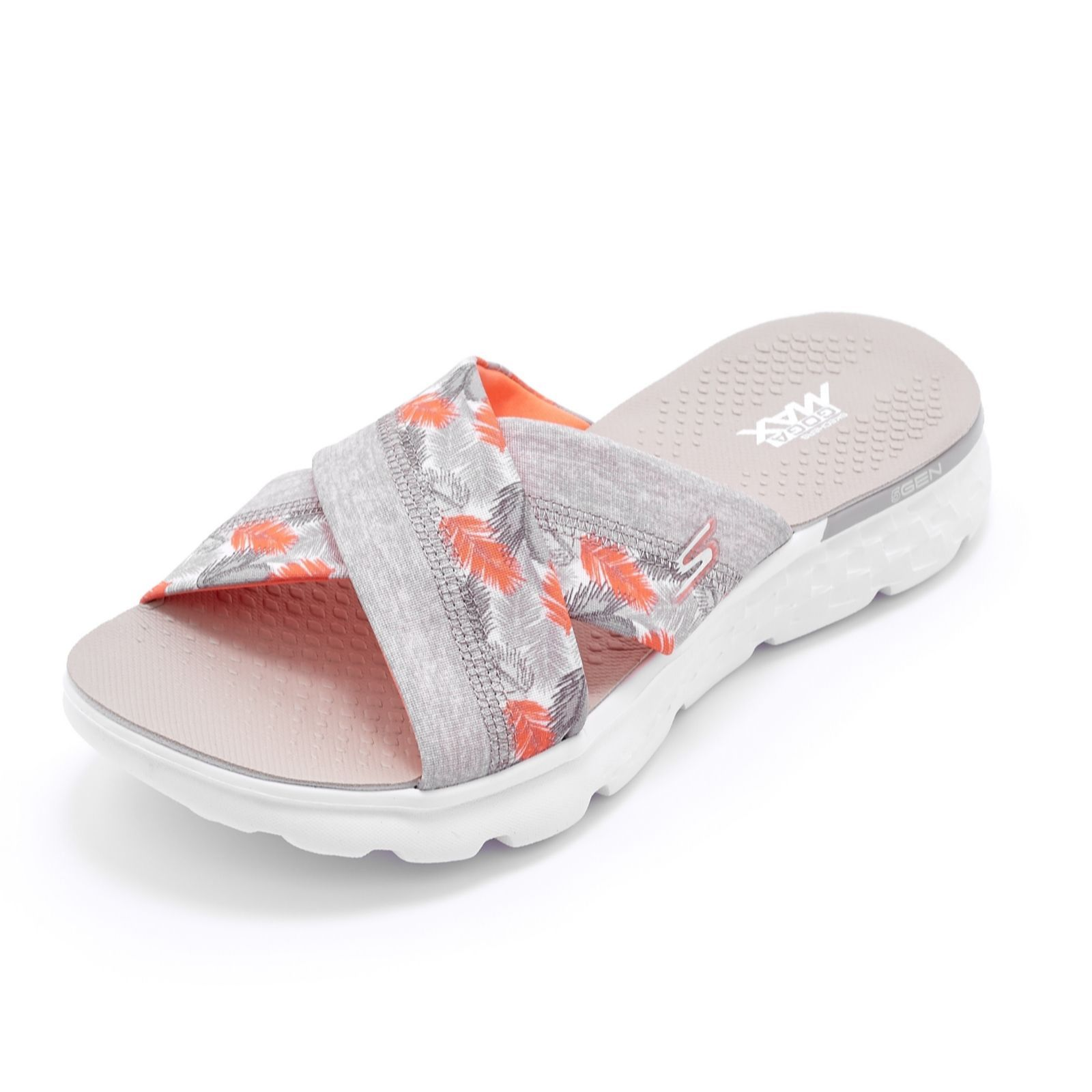 8f25a1576c9a These comfy and stylish Skechers sandals feature cross-over straps and a  tropical print.