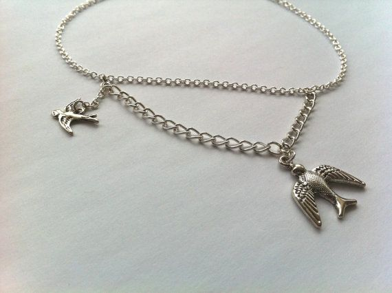 Silver Dual Flying Birds Chain Charm Necklace by ameliadoneup, $24.00