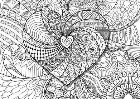 Descargar - Corazón sobre fondo floral para adultos colorear páginas ...