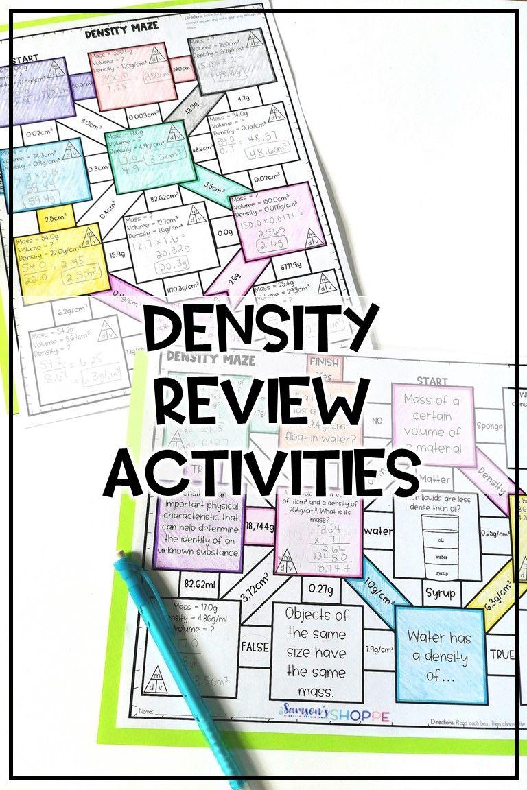 Density Review Activities Matter science, Middle school