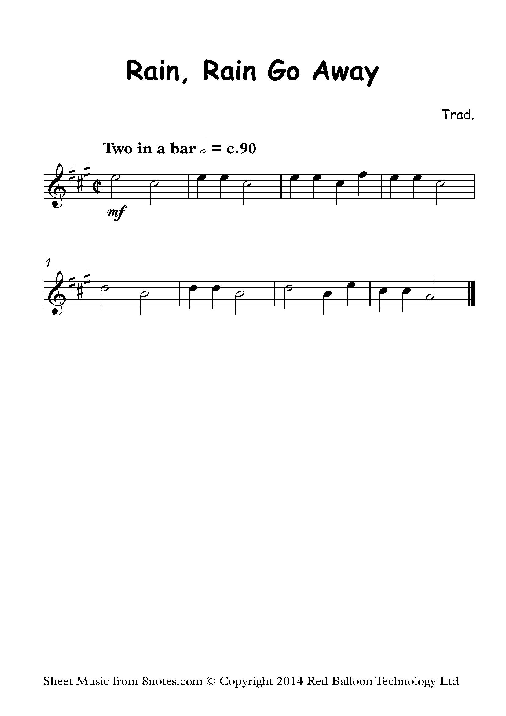 Rain Rain Go Away Sheet Music For Violin