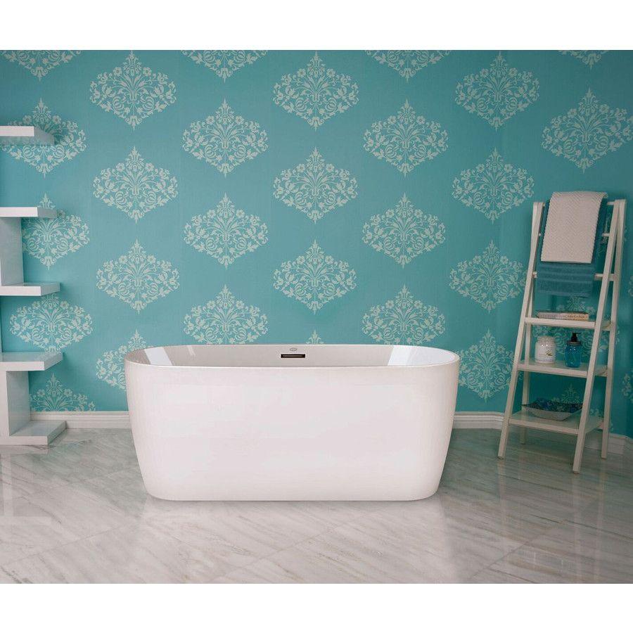 Jacuzzi Primo White Acrylic Oval Freestanding Bathtub With Center ...