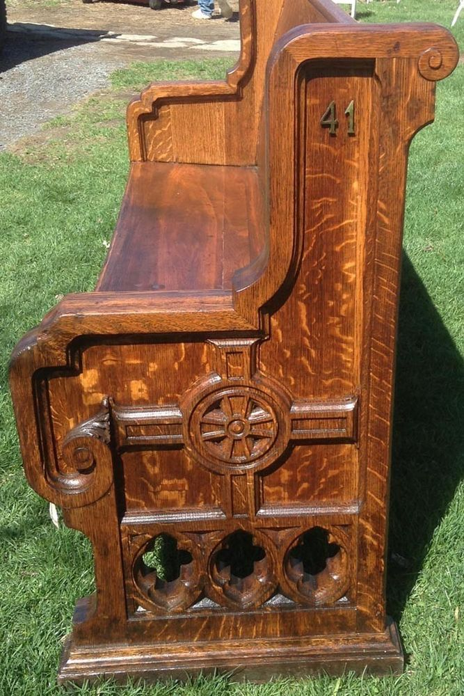 Wondrous Rare 19C Antique Gothic Church Pew Tiger Oak Highly Carved Caraccident5 Cool Chair Designs And Ideas Caraccident5Info
