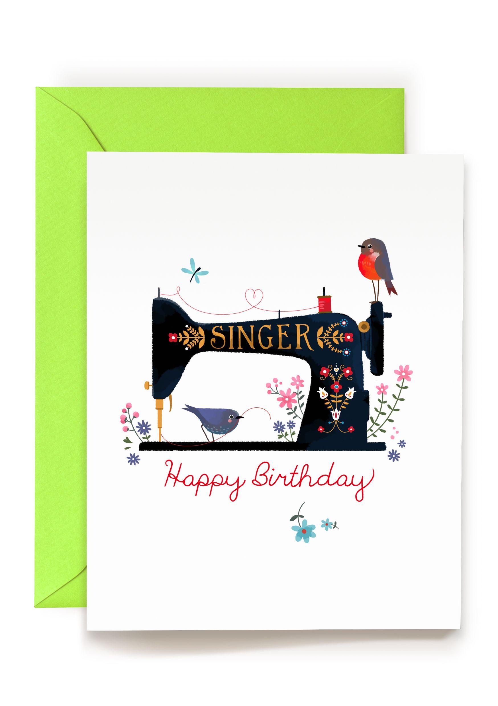 Singer Sewing Machine Illustration Birthday Greeting Card By Frida