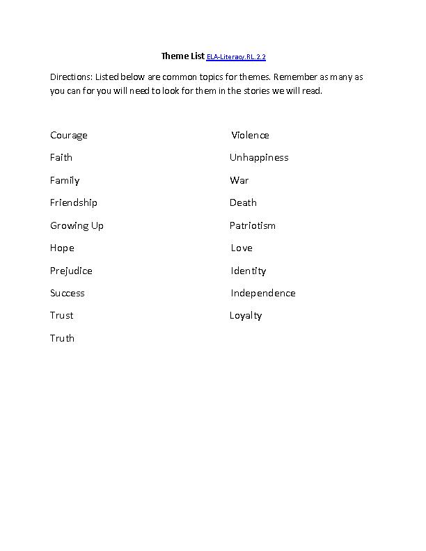Central Message List Ela Literacyrl22 Reading Literature