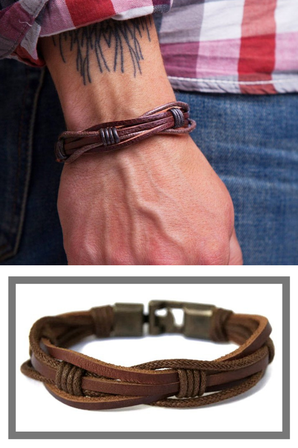 Mens Leather Bracelet For Guys Braided Rope Mens Bracelet For Mens