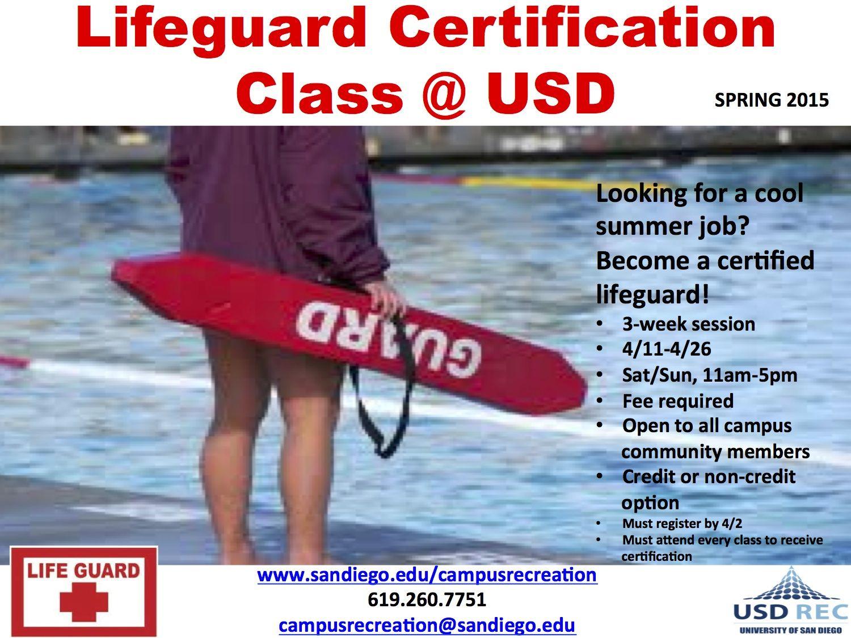 Life guard cert class usd spring 2015 summer jobs