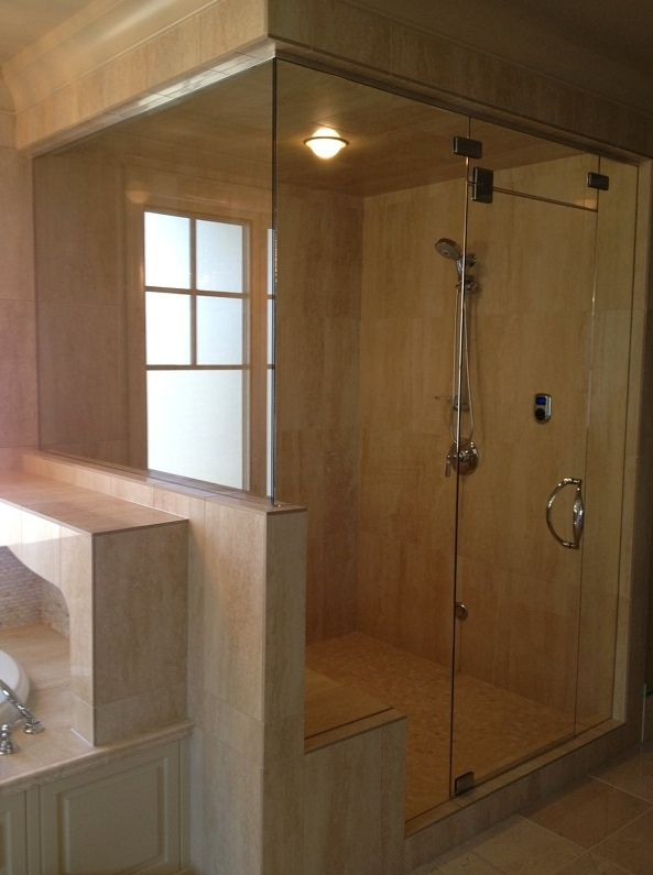 Glass shower doors for a steam shower with pivot hinges | Calgary\'s ...