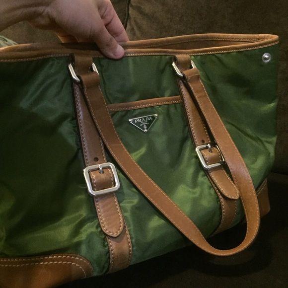 Prada Bag Leather & Nylon (Green) Up for sale is a lightly used Prada handbag. Perfect for spring. Prada Bags