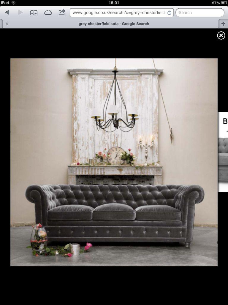 Grey Chesterfield Sofa For The Home Pinterest Decoração Salas