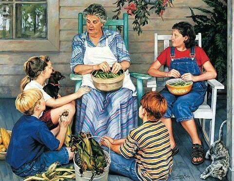 Shelled many a peas with my grandma on front porch | Art, Vintage ...