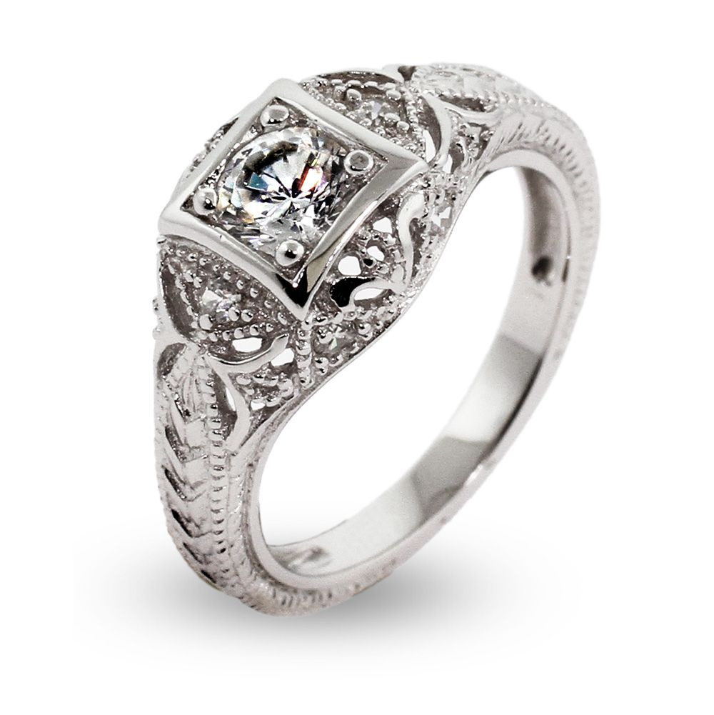 Cheap Engagement Ring High Quality Sterling Silver Deco