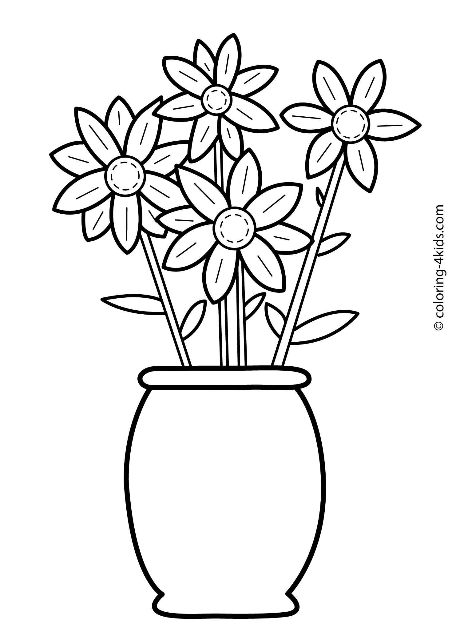 Flowers Coloring Pages For Kids Printable 6 With Images