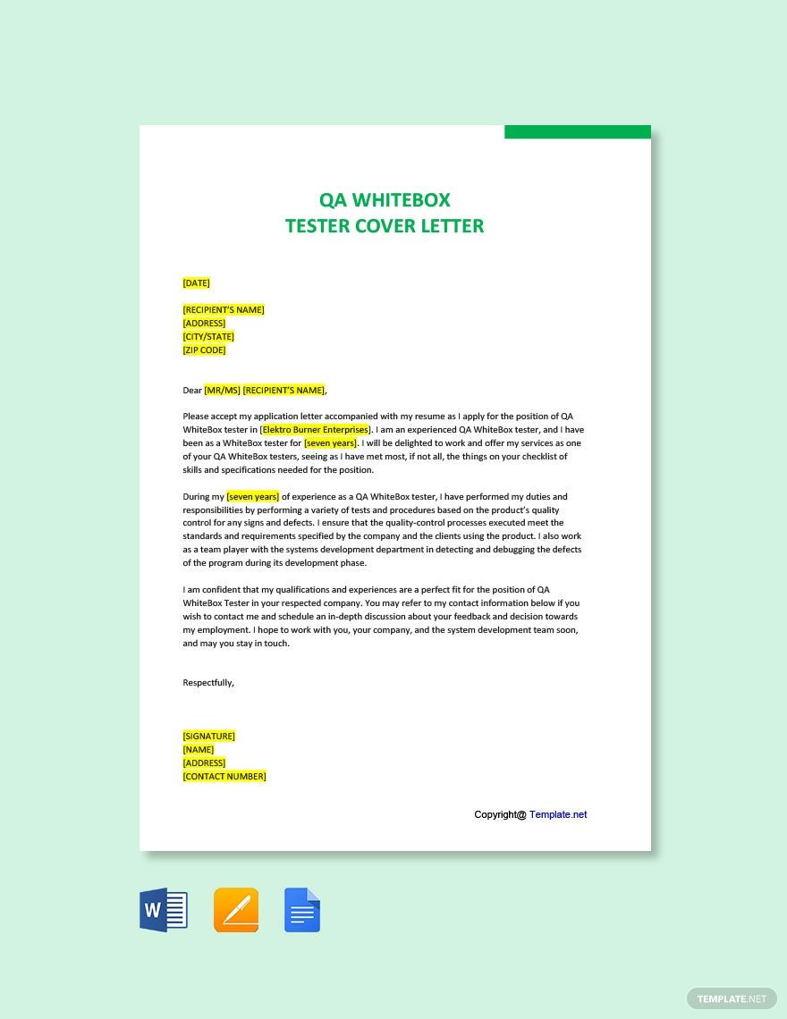 Free qa whitebox tester cover letter template word