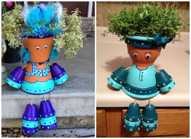 meerjungfrauen - tontöpfe mit glitzersteinen dekoriert | tontöpfe, Garten ideen
