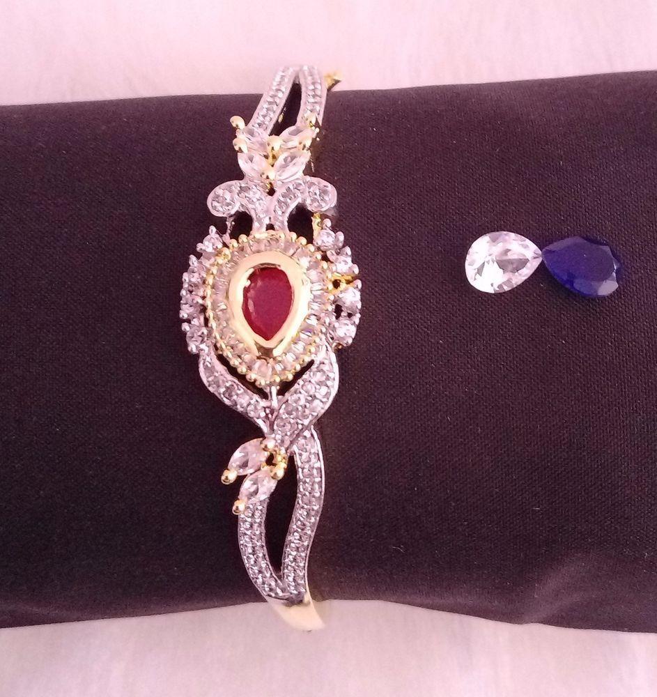 Indian Ethnic Fashion Designer Jewelry Bracelets Bangle CZ AD Gold