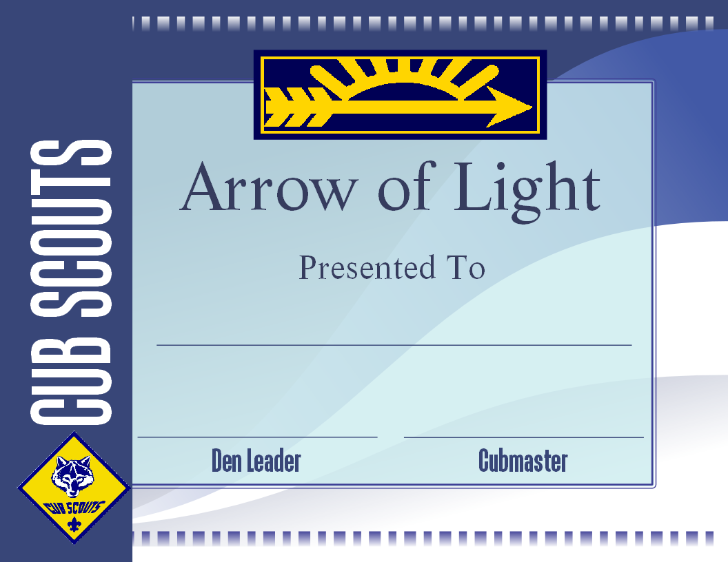 free printable arrow of light certificate template boyscout