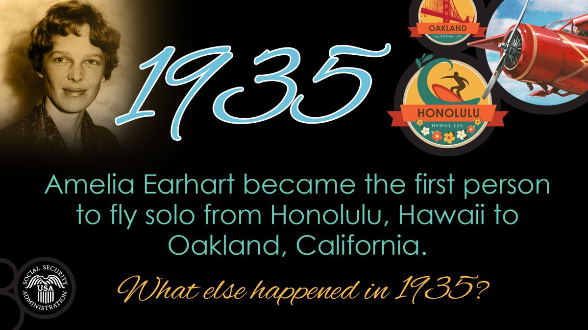 1935 Earhart 1st To Fly Solo From Honolulu HI Oakland CA What Else Happened In Ssagov History Fdrsign