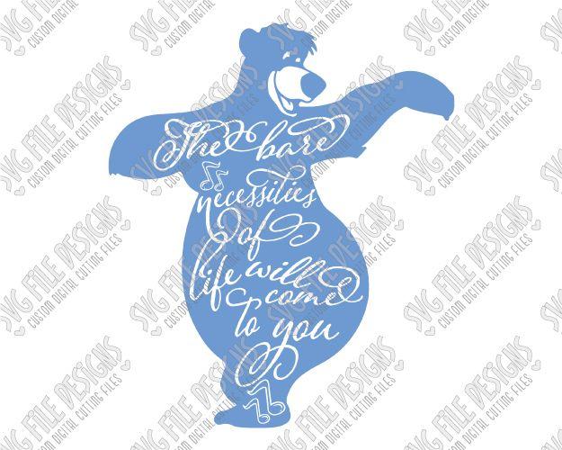 Baloo Silhouette Disney Word Art Cut File Set In SVG EPS DXF
