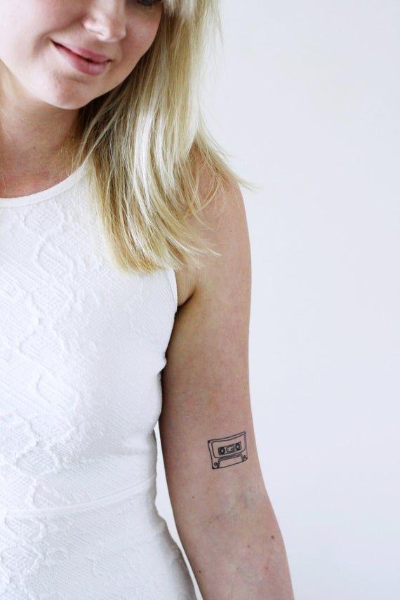 Cassette tape tattoo / tape temporary tattoo / Nineties temporary tattoo / music tattoo / music temporary tattoo / musician gift idea