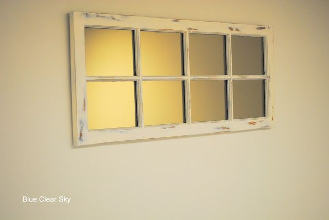 Blue Clear Sky Chippy Old Windows Window Frame Mirror