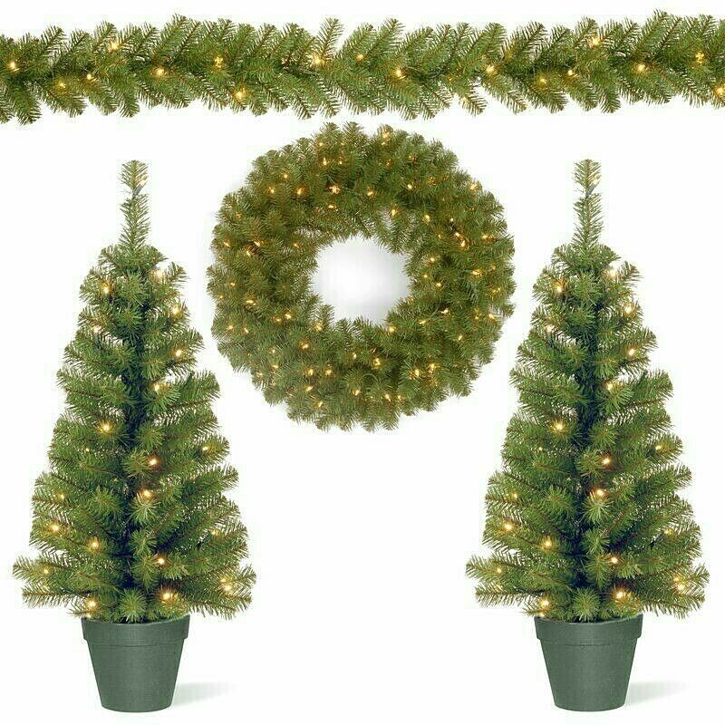 4pc Christmas Trees Garland Wreath Set Pre Lit Artificial Holiday Home Decor Homedealsmarket Chri Pre Lit Christmas Tree Pre Lit Garland Christmas Settings