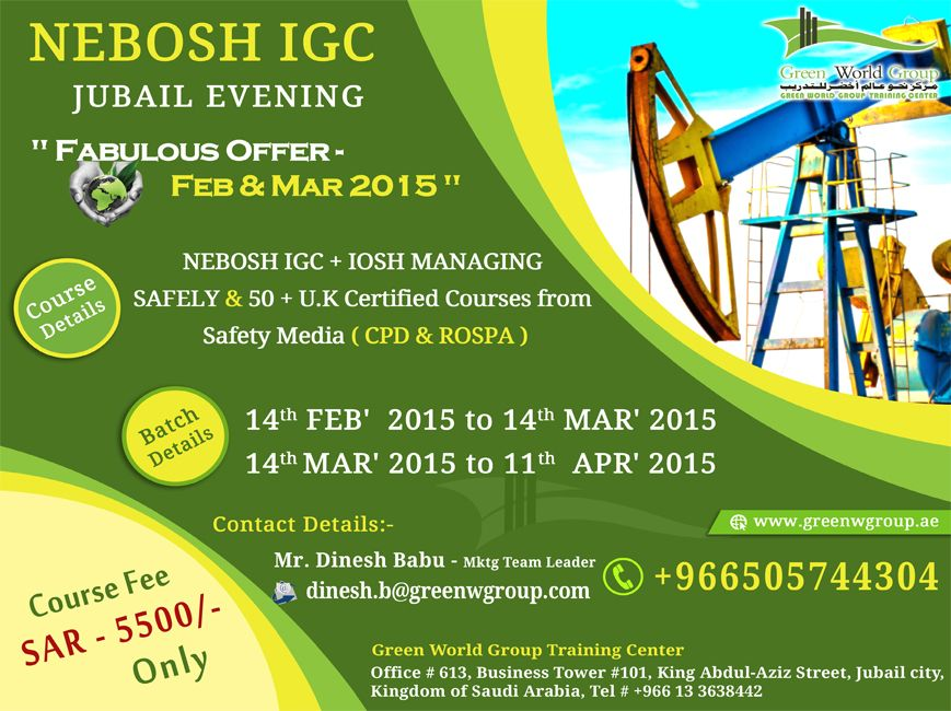 Green World Group Announce Incrediable Offer For Nebosh Course In