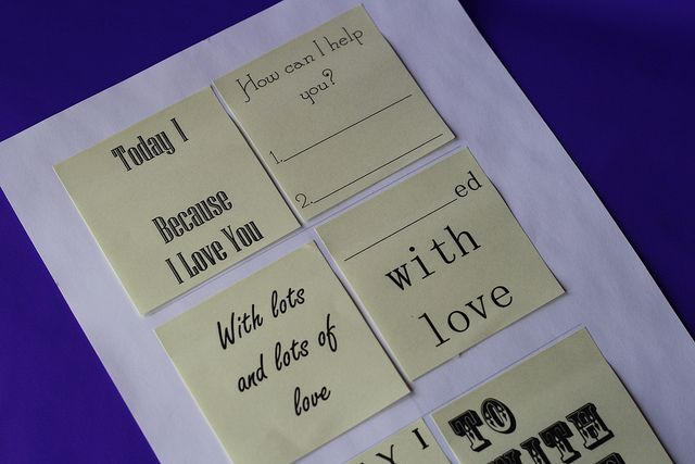 Print post-it notes for an Act of Service love language.