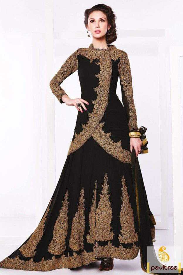We offer this attractive latest black santoon designer bridal ...