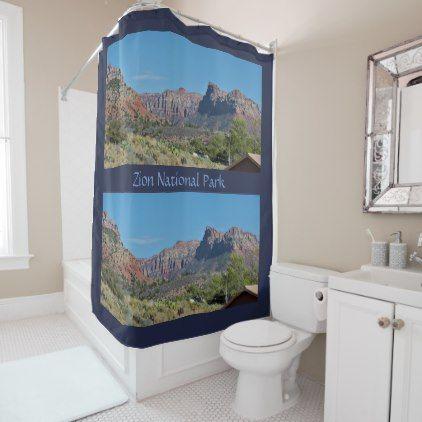 Mountain Zion National Park Shower Curtain   Shower Curtains Home Decor  Custom Idea Personalize Bathroom