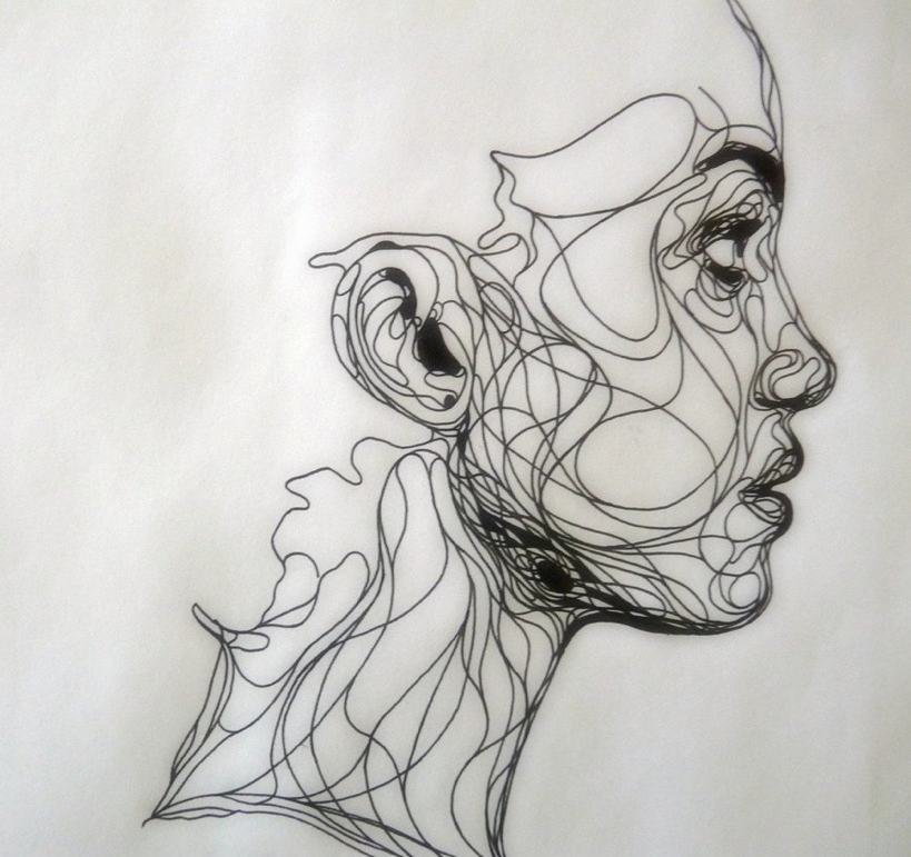 i love continuous line drawings ink drawing by kris trappeniers