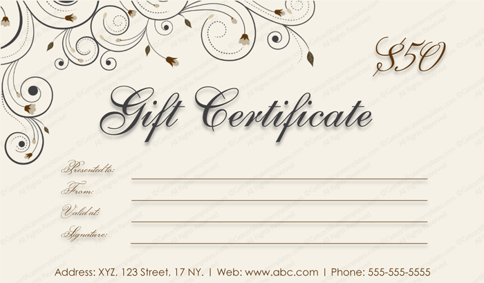 Swirls Gift Certificate Template #giftcard #giftcertificate ...