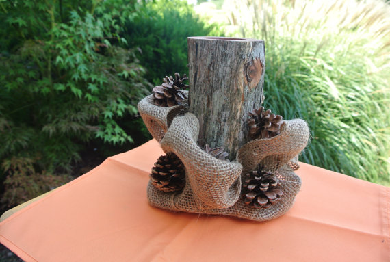 Rustic Fall Home Decor  Log Candle Holder Centerpiece by JCBees, $45.00