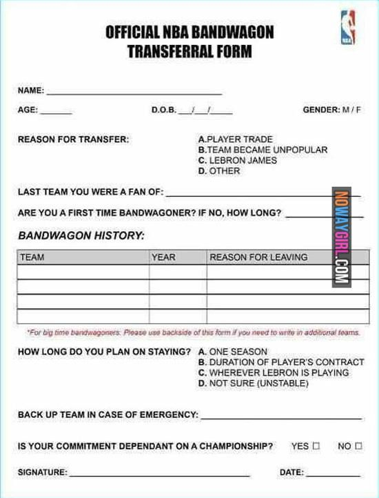 Official NBA Bandwagon Transferral Form | Humor | Pinterest ...